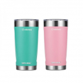 2 Copos Térmicos Duo Simple Drink 540Ml Rosa E Verde Viktwa - Mkp000801000290